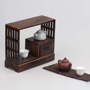 Japanese Antique Decorative Wood Wall Shelf for Tea Living Room Furniture Wooden Buffet Cabinet Storage Rack Shelf