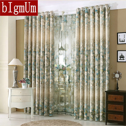 New Styles! Luxury Window Curtains Jacquard  Flowers Drapes Blackout Window Treatment