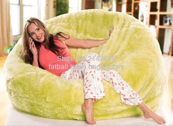 SHAGGY FUR SOLID LEANBACK BEAN BAG CHAIR