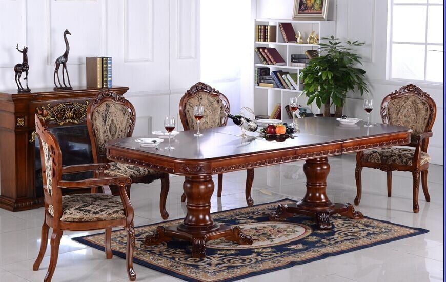 oak solid wood dinning room furniture set for square table and chairs