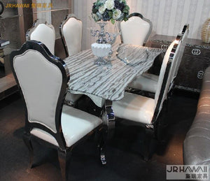 Dinning table with dining room set with 6 chairs with marble table top and stainless leather chair