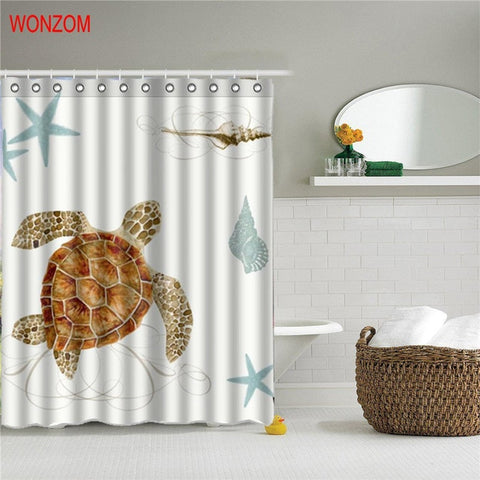 Marine Life Waterproof Shower Curtain Turtle Bathroom Decor Fish Decoration