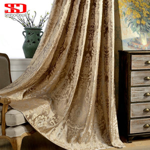 European Damask Curtains Luxury Jacquard Blind Drapes Window Panel Fabric Curtain