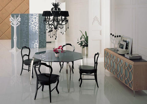stainless steel Dinning table with dining room set with 4 chairs, glass top table moderns style wooden chairs