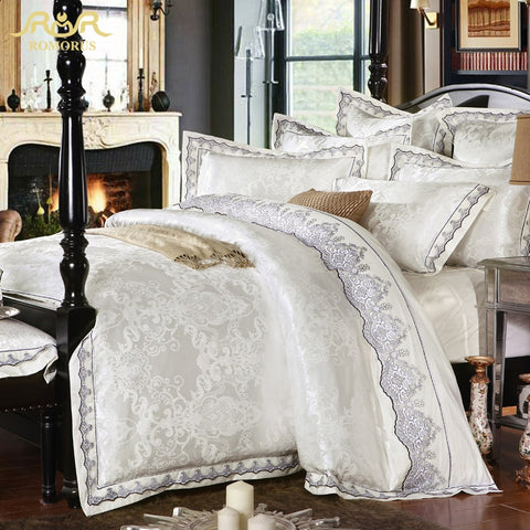 ROMORUS 4/6 pcs White Satin Jacquard Silk Luxury Bedding Set King Queen Size 100% Cotton Gold