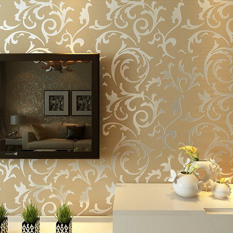 Luxury Grey Silver Leaf 3D Steroscopic Wallpaper