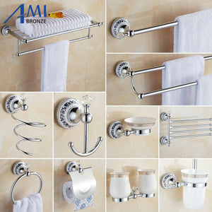Chrome Polished Crystal & Porcelain Bathroom accessories Bath Hardware