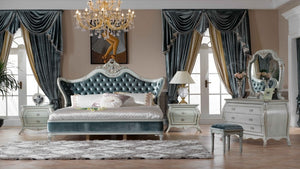 Italy style European classical white and  king size bedroom furniture set