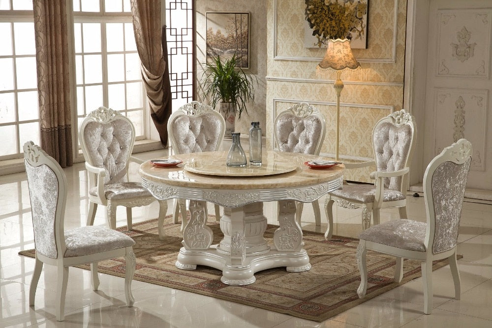 French Style Marble Top Dinning Table with Chairs