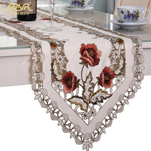 ROMORUS Europe Lace Wedding Table Runners Floral Embroidered Table Runner