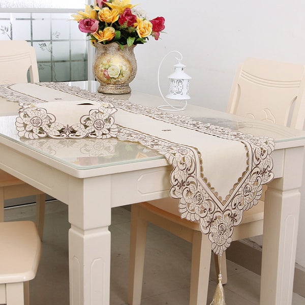 ROMORUS Europe Embroidered Table Runners Lace Floral Table Runner for Wedding Decoration Dustproof Table Covers Runners Home Hot