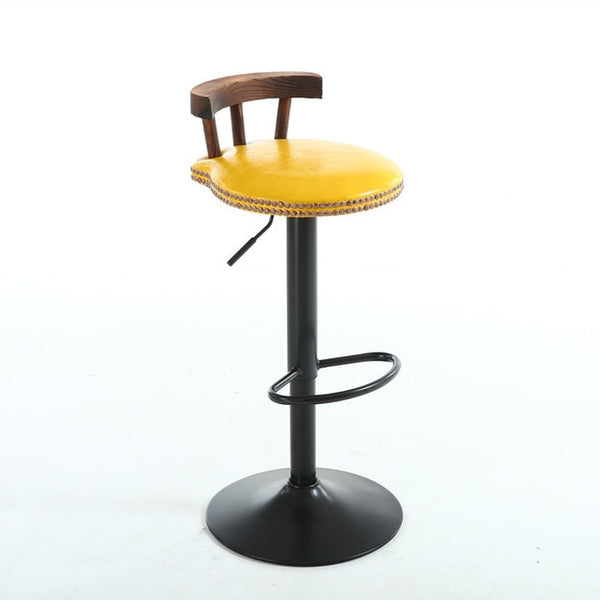 2pcs Retro Design Bar Chair Swivel Lifting Bar Stool with Footrest  Adjustable