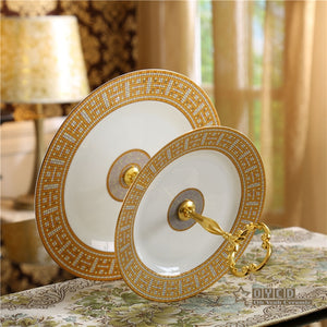 "Ceramic bone china ""H"" mark mosaic design Fruit dishes ceramic cake plate sets 2 layer pastry snack"
