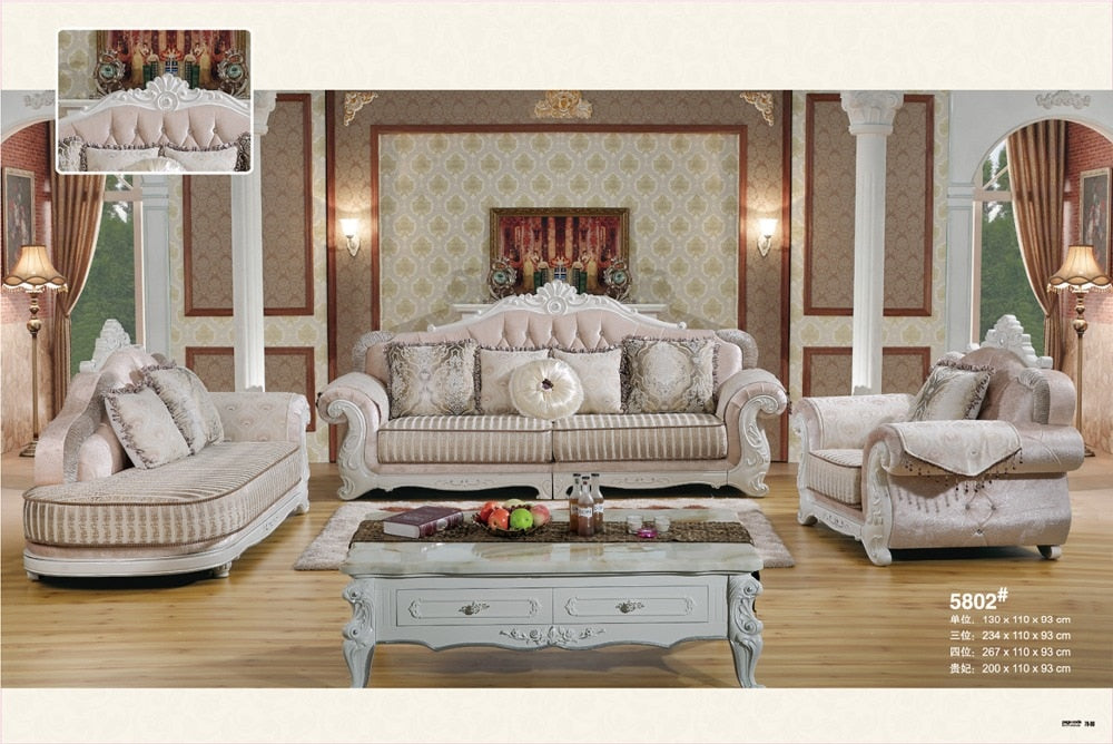 Home Furniture Sofa Set Living Room With Solid Rubber Carving French Style