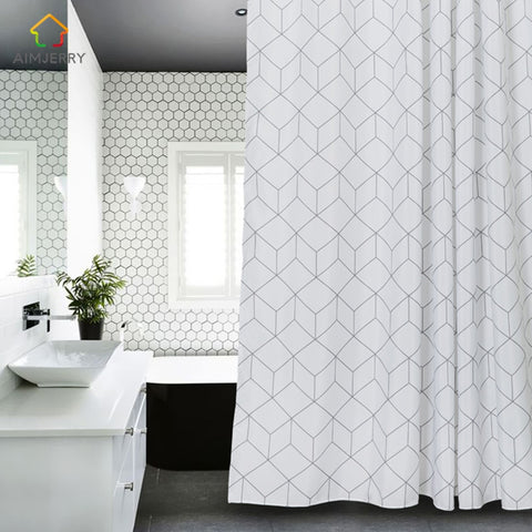 White and Grey Bathtub Bathroom Fabric Shower Curtain  71Wx71H High Quality Waterproof and Mildewproof