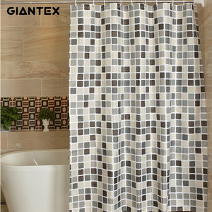 Plaid Polyester Bathroom Waterproof Shower Curtains With Plastic Hooks