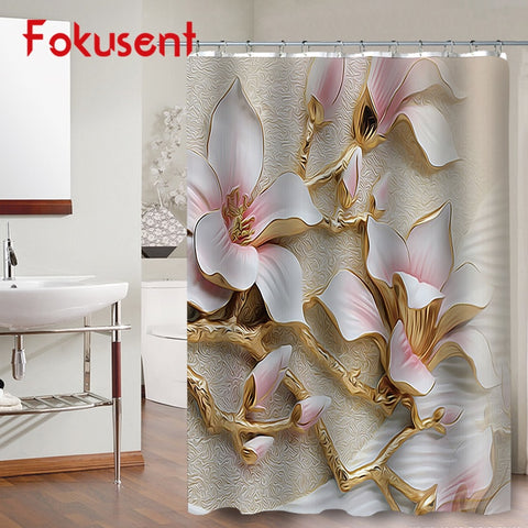 Luxury Orchid Peony Flower Dandelion Polyester Fabric Bathroom Waterproof Shower Curtains
