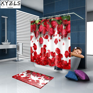 Luxury Butterfly / Red Rose 3D Waterproof Shower Curtain Bathroom Polyester