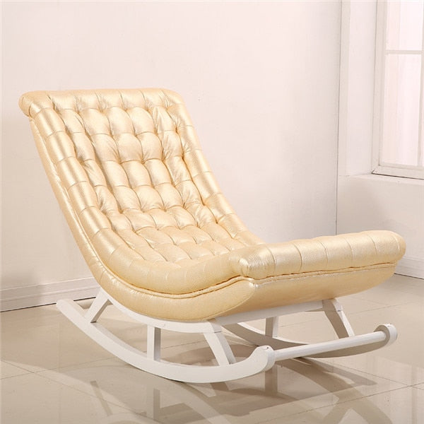 Modern Design Rocking Chair White Leather&Wood t Luxury Rocking Chair Rocker Chaise