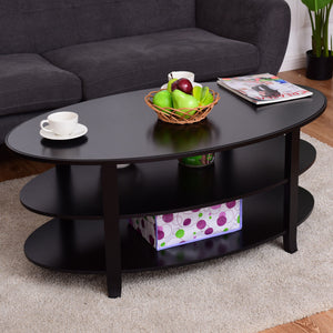 Giantex 3-Tier Wood Oval Coffee Table