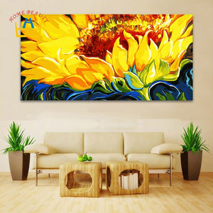 50*100 large coloring by numbers Sunflowes wall picture for living room