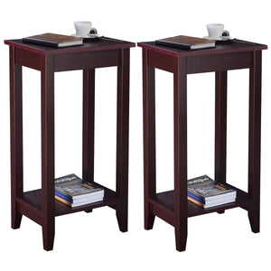 Giantex Set of 2 Tall End Table Coffee Stand