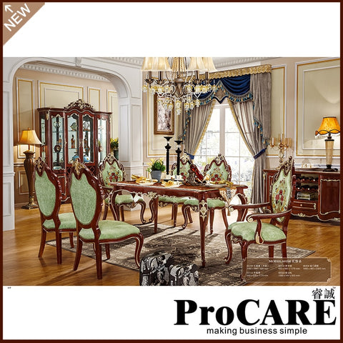 Hot selling Solid wood dinning table set with 6 chairs