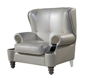 Pearly white leather French genuine leather chair real leather sofa chair