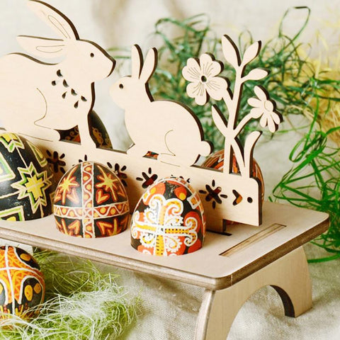 Wooden Easter Egg Rack Stand Rabbit Hen Happy Easter Pattern Festival Easter Egg Tray Holder DIY Decoration for Home