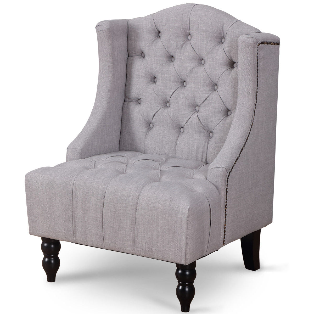 Giantex Modern Tall Wingback Tufted Accent Armchair