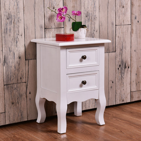 Giantex White Curved Legs Accent Side End Table