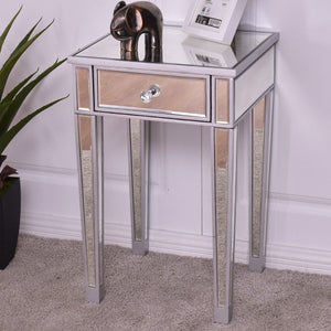 Giantex Mirrored Accent Table Nightstand End Table Luxury Modern Bedside Storage Table