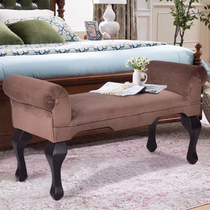 Microfiber Rolled Arm Bed Bench Seat Chair Upholstered Wood Leg Brown