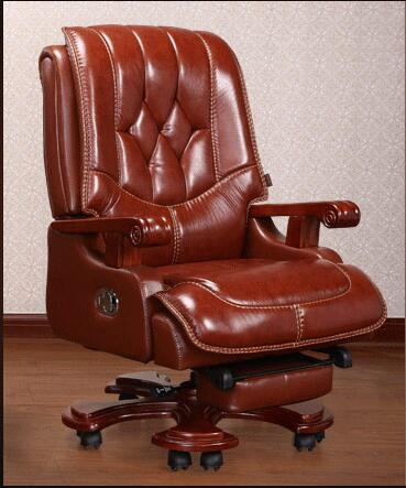 Real leather boss chair. high - grade massage computer chair. Home office chair real wood