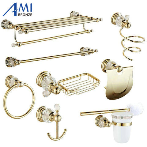 Golden Polish Brass & Crystal Wall Mounted Bathroom Accessories Towel Rack Towel