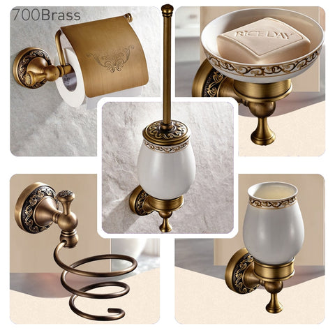 Bathroom Accessories Antique Brass Collection, Towel Ring, Paper Holder, T