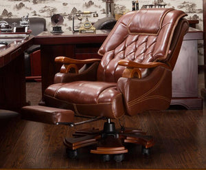 Real leather boss chair. Massage can lie office chair.