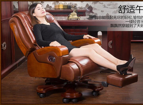 Real wood chair. Leather boss chair. Can massage office chair. Lift and swivel chair home computer chair011