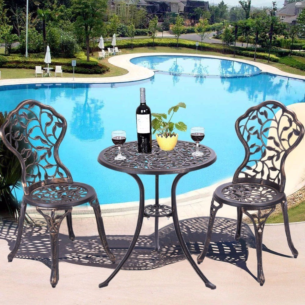 3 Piece Bistro Set Cast Leaf Design Antique Outdoor Patio Furniture