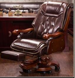 Boss Chair Leather Massage Reclining Office Chair Double Cushion Executive Chair Solid Wood Armchair..