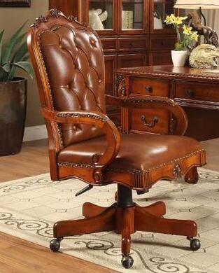 Vintage carved solid wood swivel chair. Boss chair. Leather office chair..