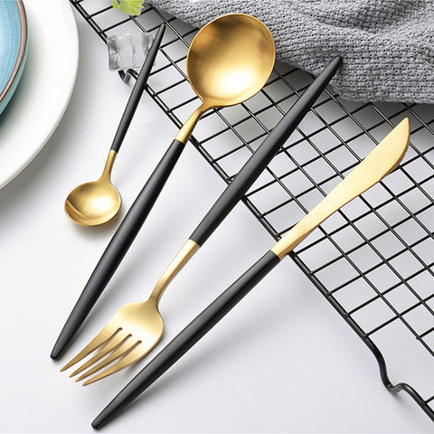 24-Pieces Black Gold Cutlery Set Matte Dinnerware Set