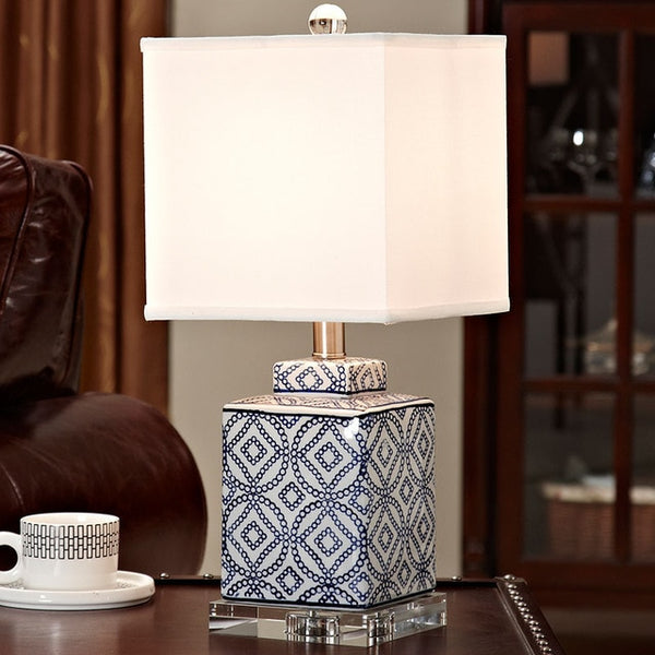 Crystal Bedroom Table Lamp Blue and white porcelain