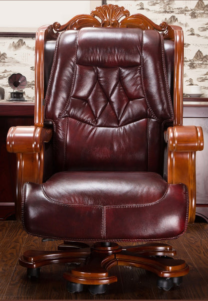 Luxurious boss chair leather can lie high class chair cow skin thickening massage office chair swivel chair..