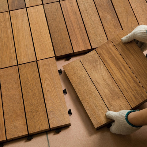 Tiles In Solid Teak Wood Suitable for Indoor and outdoor Stripe Pattern Rug