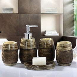 Concise Bathroom Set 5Pcs Tooth Brash Holder Soap Dish Dispenser Bathroom Accessories