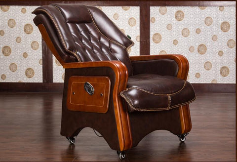 Real leather reclining chair. Solid wood four-legged computer chair.
