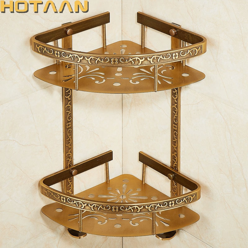 Bathroom shelf antique aluminum double layer bathroom corner shelf bathroom holder showeroom  accessories