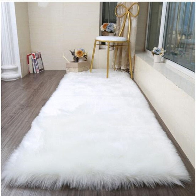 LOUTASI Long Faux Fur Area Rug for Living Room