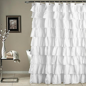 Waterproof Corrugated Edge Shower Curtain Ruffled Bathroom Curtain